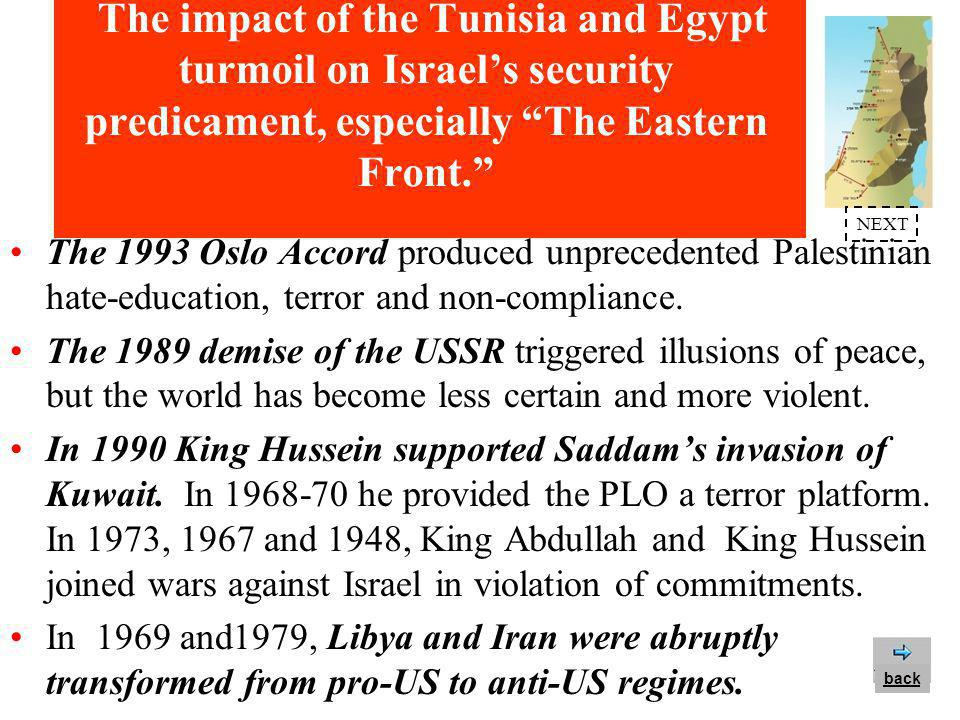 The impact of the Tunisia and Egypt turmoil on Israel's security predicament, especially The Eastern Front. Israel's most vulnerable flank is The Eastern Front - the Jordan Valley and the Judea & Samaria mountain ridges - over-towering Israel's Soft Belly. The Tunisia/Egypt turmoil reflects the shifty, tenuous, violent, non-compliant nature of Mideast regimes.