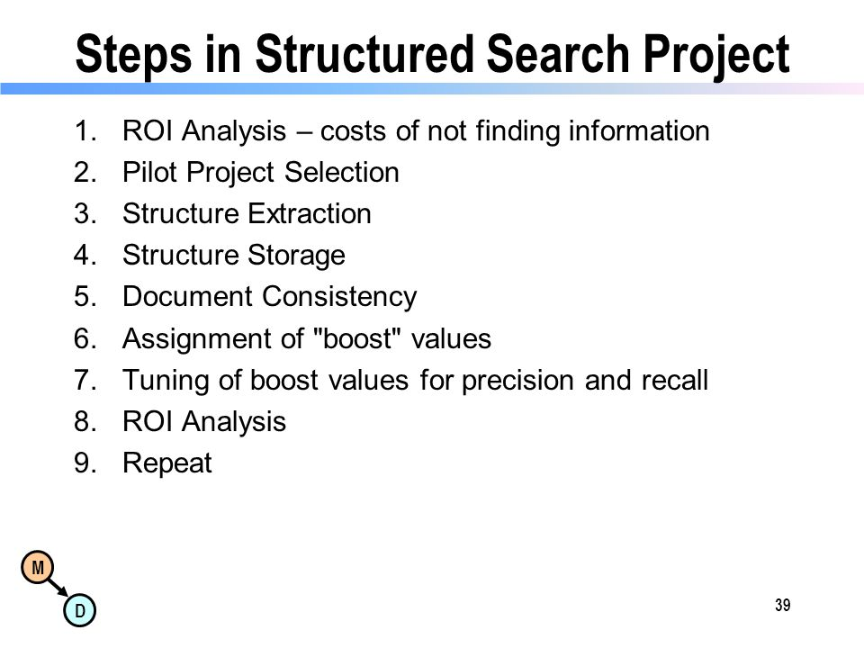 M D Steps in Structured Search Project 1.ROI Analysis – costs of not finding information 2.Pilot Project Selection 3.Structure Extraction 4.Structure Storage 5.Document Consistency 6.Assignment of boost values 7.Tuning of boost values for precision and recall 8.ROI Analysis 9.Repeat 39