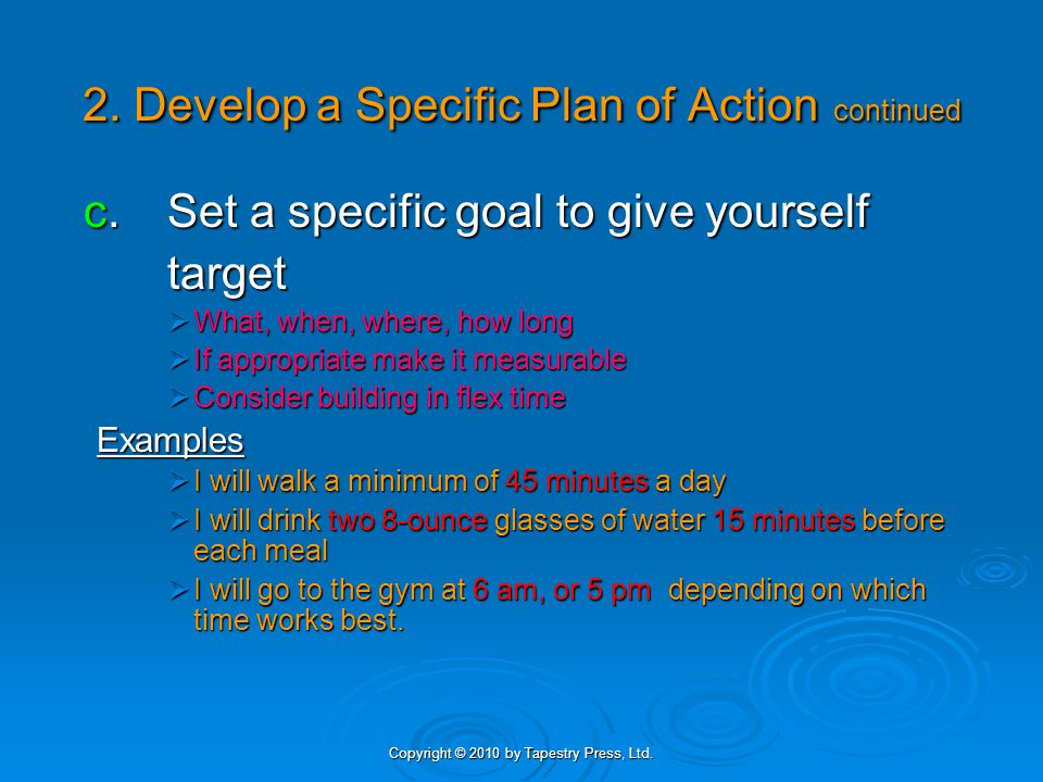 Copyright © 2010 by Tapestry Press, Ltd. 2. Develop a Specific Plan of Action continued c.