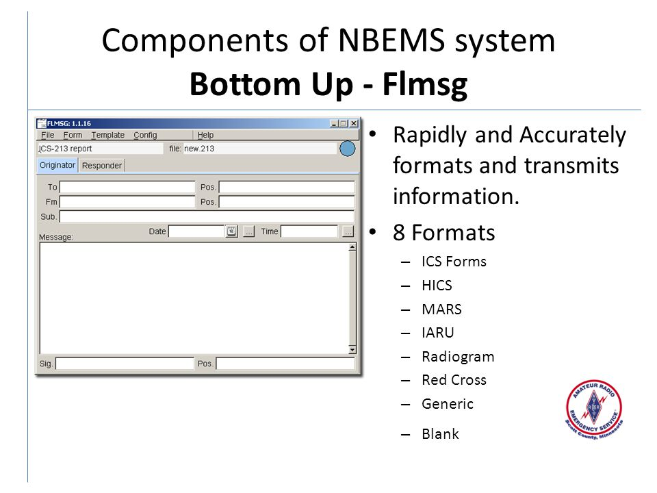 Components of NBEMS system Bottom Up - Flmsg Rapidly and Accurately formats and transmits information.