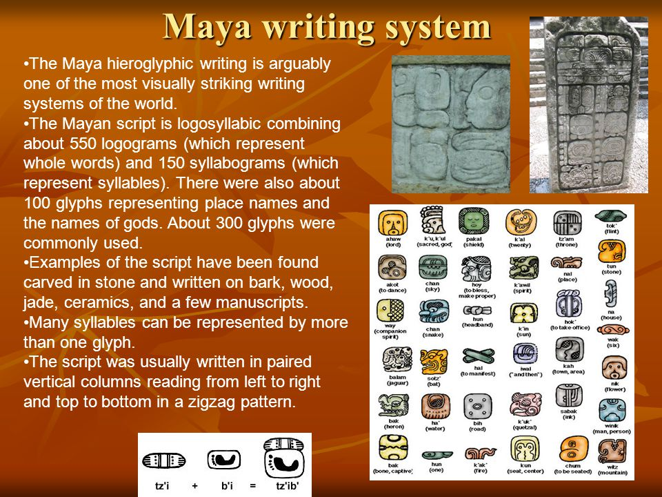 Maya writing system The Maya hieroglyphic writing is arguably one of the most visually striking writing systems of the world.