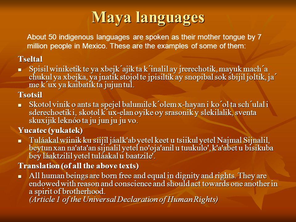 Maya languages Tseltal Spisil winiketik te ya xbejk´ajik ta k´inalil ay jrerechotik, mayuk mach´a chukul ya xbejka, ya jnatik stojol te jpisiltik ay snopibal sok sbijil joltik, ja´ me k´ux ya kaibatik ta jujun tul.