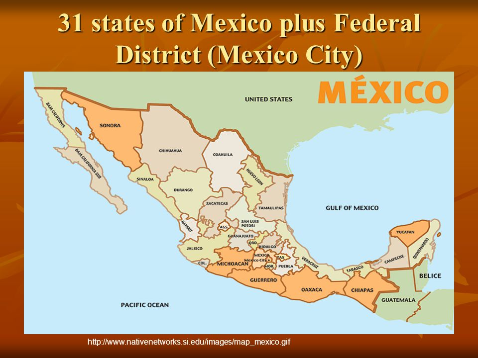 2 million square km (the 5 th largest country in the Americas) population: 109 million capital: Mexico City (population: 19 million) climate: temperate to tropical government: Federal Presidential Republic president: Felipe Calderon independence from Spain: September 16, 1810 http://www.world-flags-symbols.com/_img_nations4/mexico_flag.png