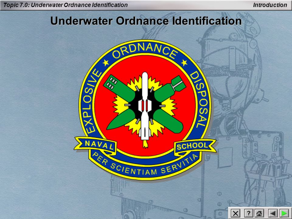 Topic 7.0: Underwater Ordnance Identification Underwater Mines Key ID features: The letters DST are stamped on the arming and firing devices.