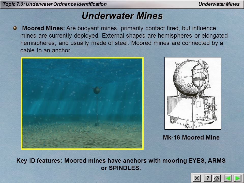 Topic 7.0: Underwater Ordnance Identification Depth Charges Anti-Swimmer: Designed for use against underwater swimmers.