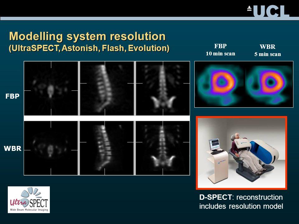 Modelling system resolution (UltraSPECT, Astonish, Flash, Evolution) FBP WBR FBP 10 min scan WBR 5 min scan D-SPECT: reconstruction includes resolution model