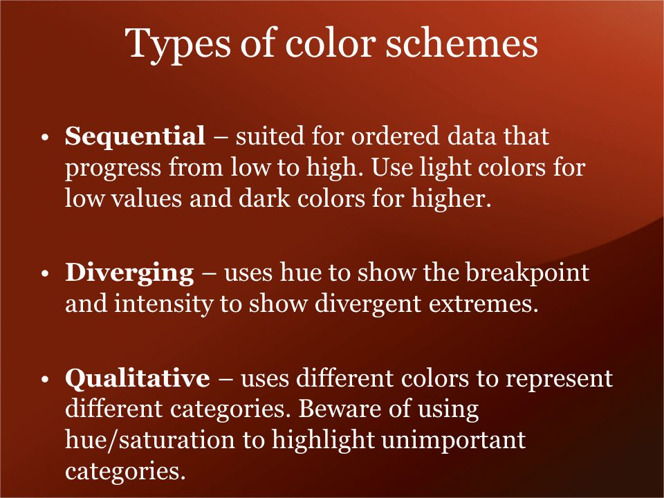 Types of color schemes Sequential – suited for ordered data that progress from low to high.