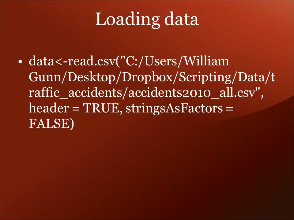 Loading data data<-read.csv( C:/Users/William Gunn/Desktop/Dropbox/Scripting/Data/t raffic_accidents/accidents2010_all.csv , header = TRUE, stringsAsFactors = FALSE)