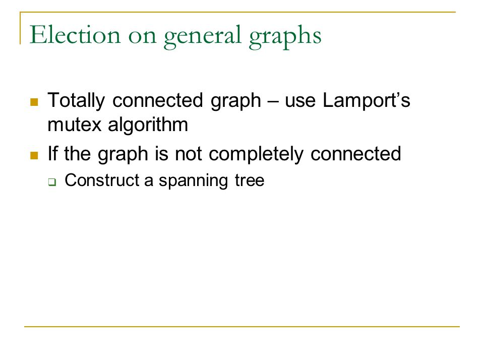 Election on general graphs Totally connected graph – use Lamport's mutex algorithm If the graph is not completely connected  Construct a spanning tree