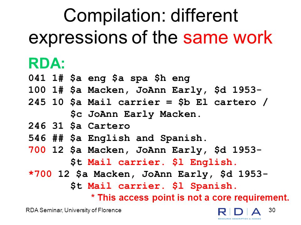 RDA Seminar, University of Florence30 Compilation: different expressions of the same work RDA: 041 1# $a eng $a spa $h eng 100 1# $a Macken, JoAnn Ear