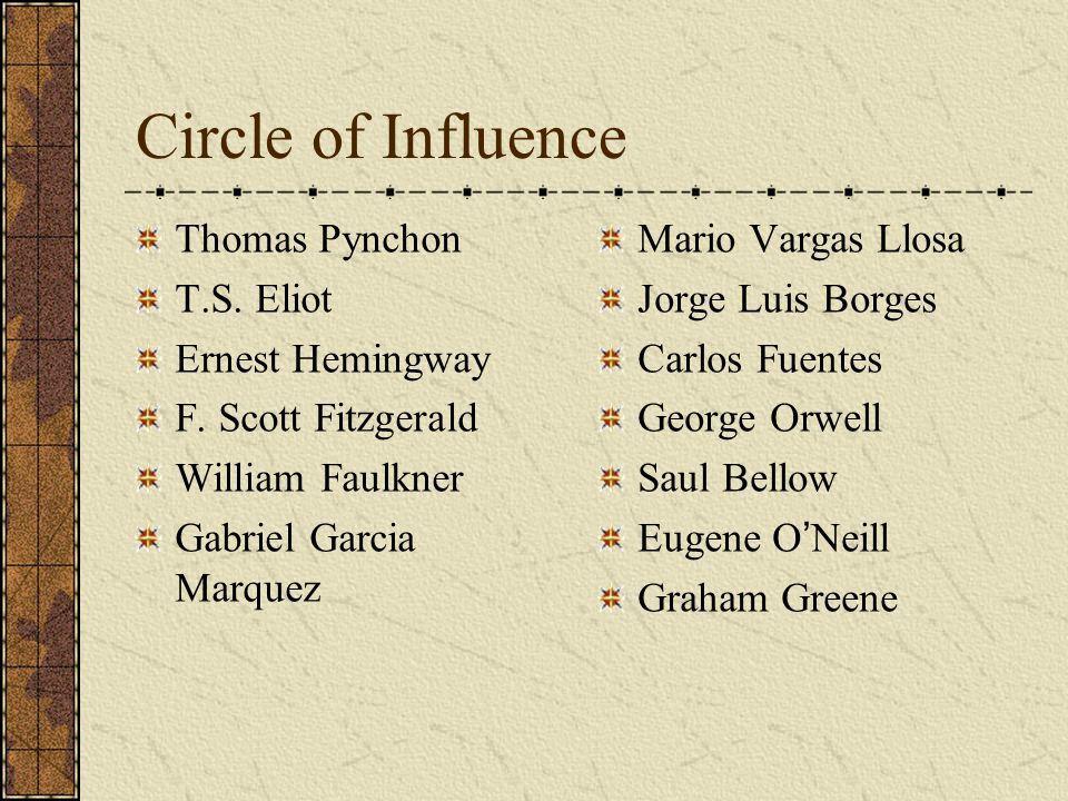 Circle of Influence Thomas Pynchon T.S. Eliot Ernest Hemingway F. Scott Fitzgerald William Faulkner Gabriel Garcia Marquez Mario Vargas Llosa Jorge Lu