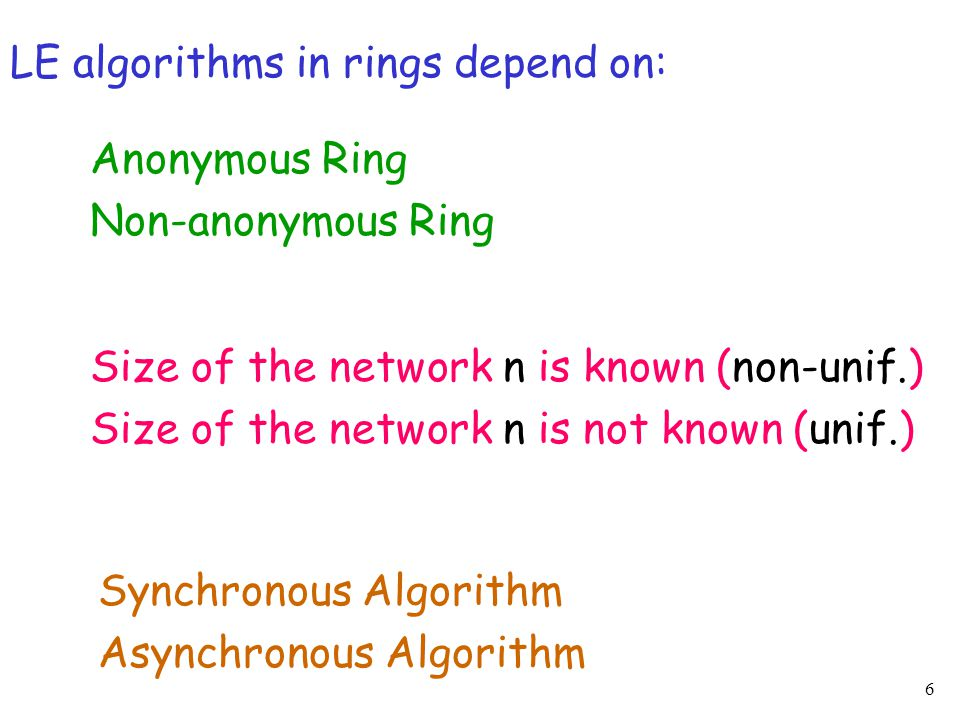 6 LE algorithms in rings depend on: Anonymous Ring Non-anonymous Ring Size of the network n is known (non-unif.) Size of the network n is not known (u