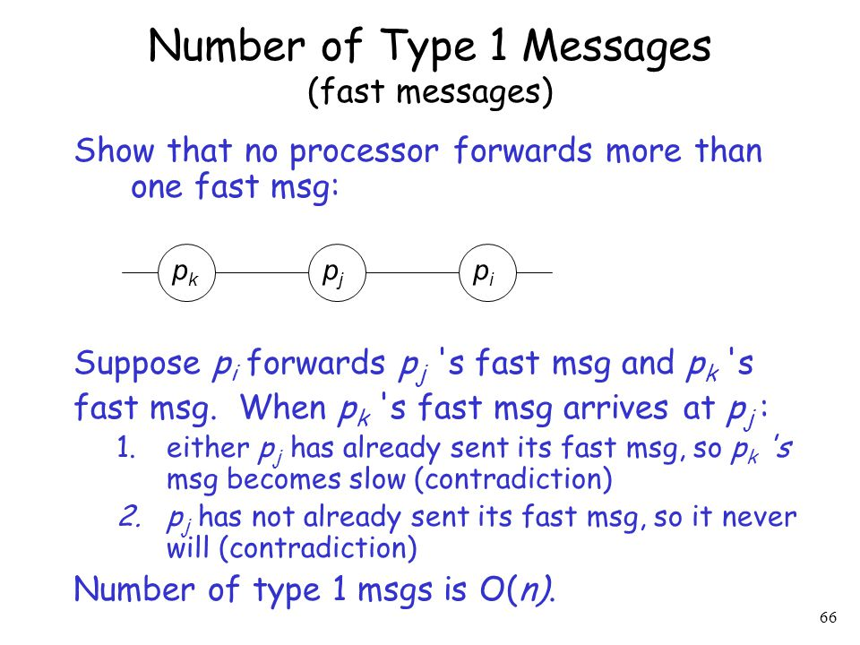 66 Show that no processor forwards more than one fast msg: Suppose p i forwards p j 's fast msg and p k 's fast msg. When p k 's fast msg arrives at p
