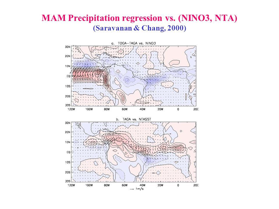 MAM Precipitation regression vs. (NINO3, NTA) (Saravanan & Chang, 2000)