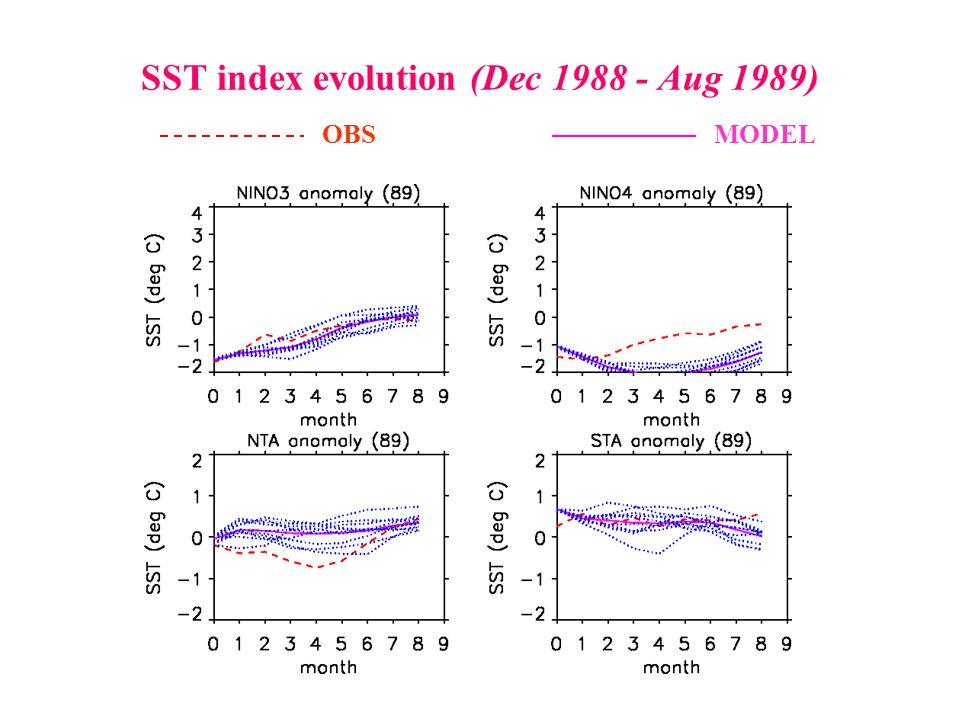 SST index evolution (Dec 1988 - Aug 1989) OBSMODEL