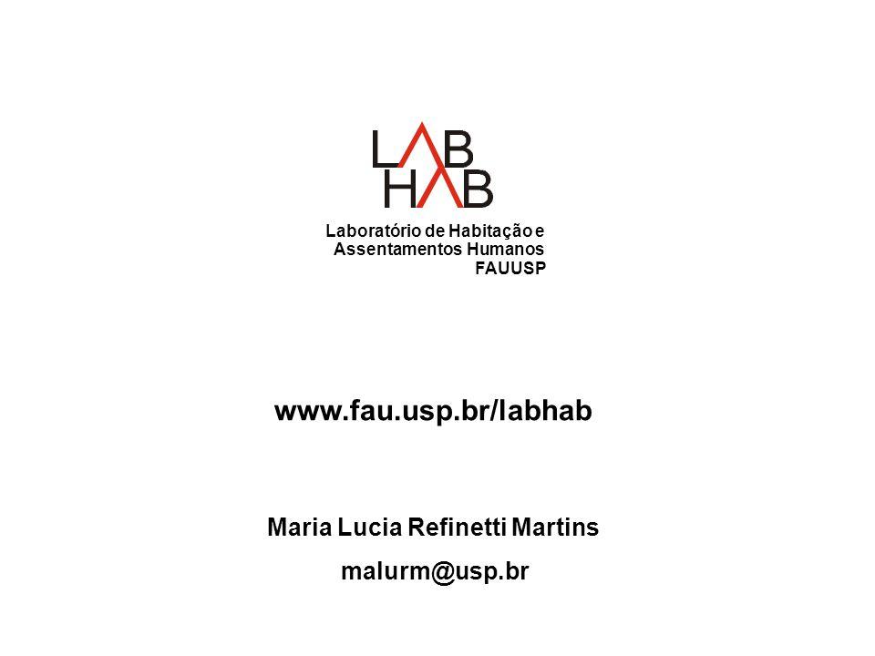 Laboratório de Habitação e Assentamentos Humanos FAUUSP www.fau.usp.br/labhab Maria Lucia Refinetti Martins malurm@usp.br