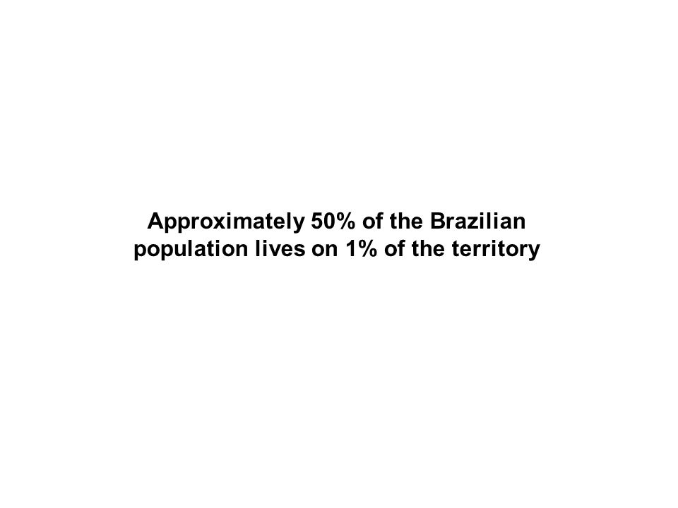 Approximately 50% of the Brazilian population lives on 1% of the territory