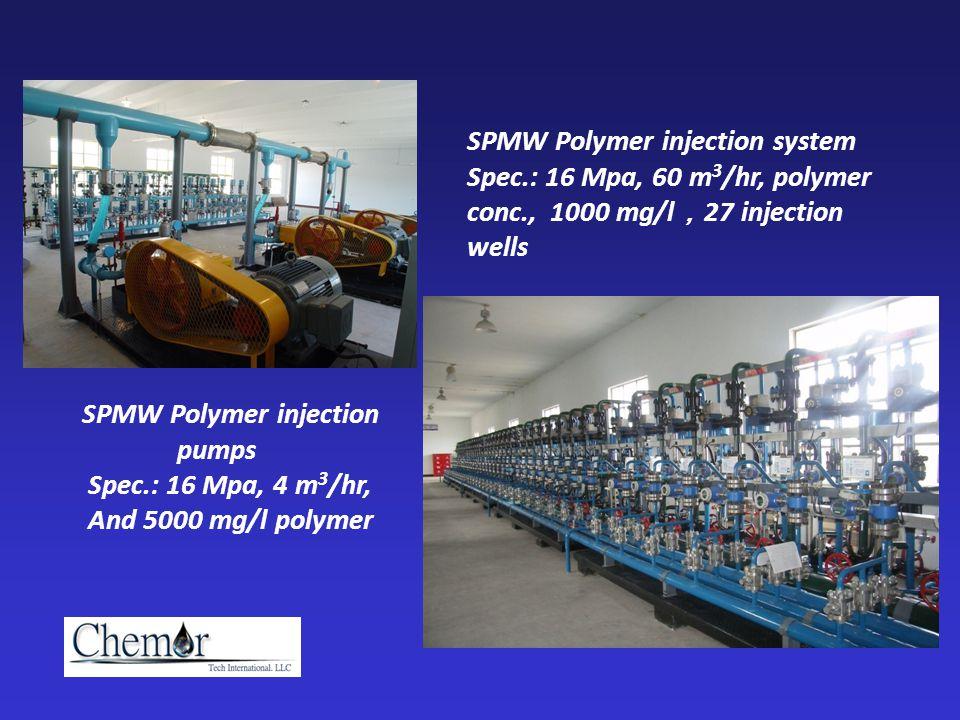 SPMW Polymer injection pumps Spec.: 16 Mpa, 4 m 3 /hr, And 5000 mg/l polymer SPMW Polymer injection system Spec.: 16 Mpa, 60 m 3 /hr, polymer conc., 1