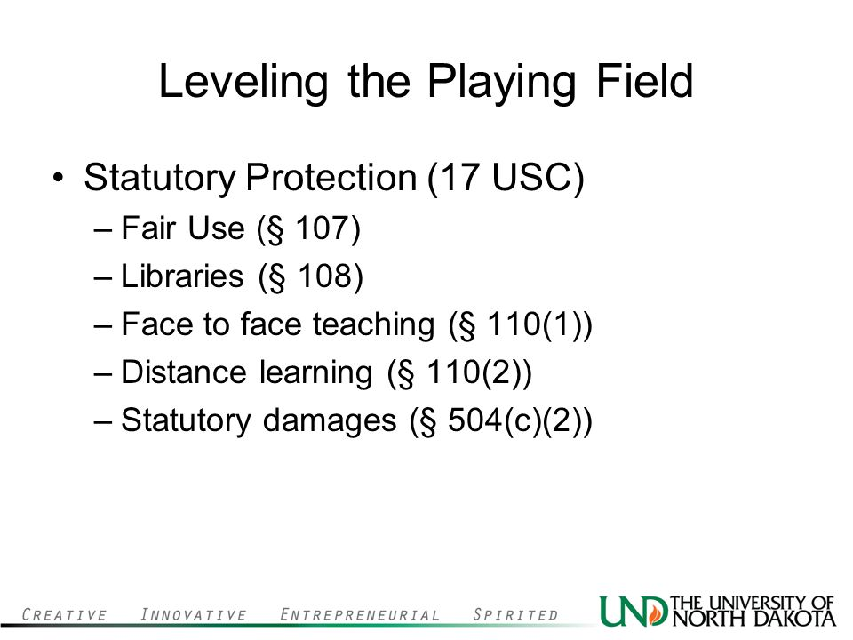 Leveling the Playing Field Statutory Protection (17 USC) –Fair Use (§ 107) –Libraries (§ 108) –Face to face teaching (§ 110(1)) –Distance learning (§ 110(2)) –Statutory damages (§ 504(c)(2))
