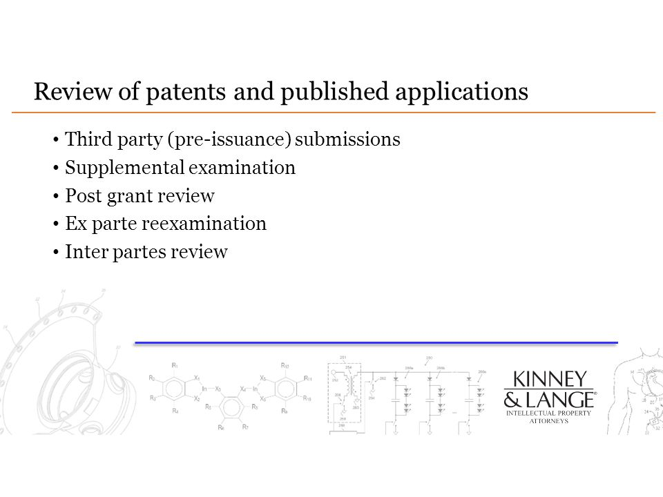 Review of patents and published applications Third party (pre-issuance) submissions Supplemental examination Post grant review Ex parte reexamination