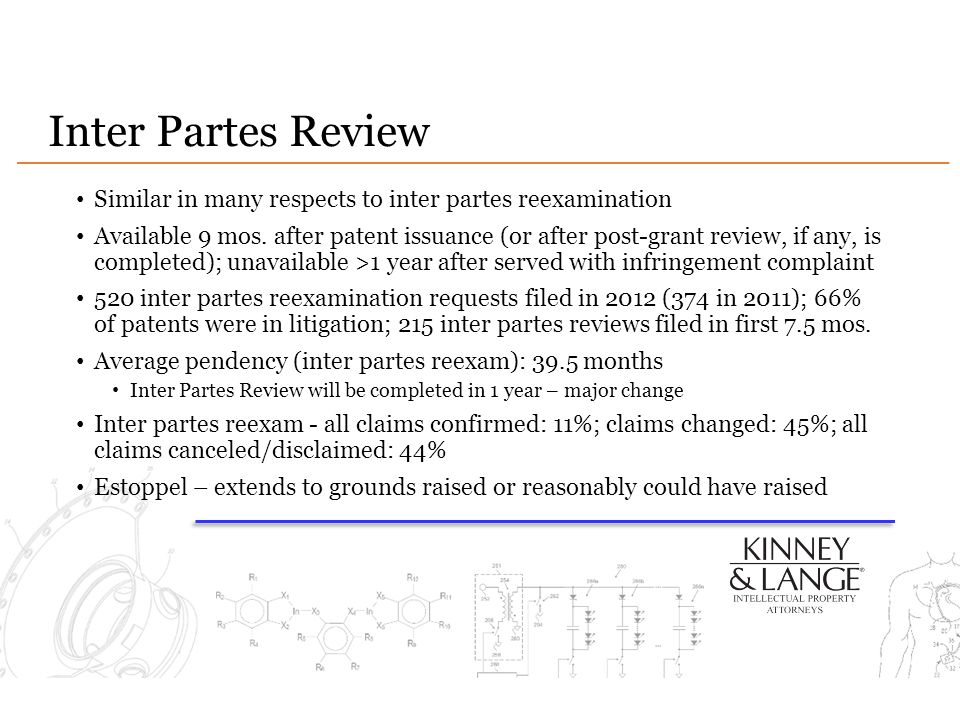 Inter Partes Review Similar in many respects to inter partes reexamination Available 9 mos.