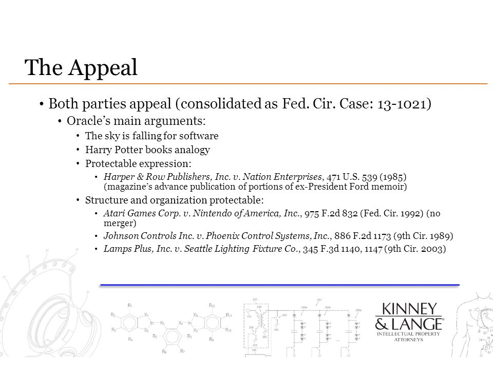 The Appeal Both parties appeal (consolidated as Fed. Cir. Case: 13-1021) Oracle's main arguments: The sky is falling for software Harry Potter books a
