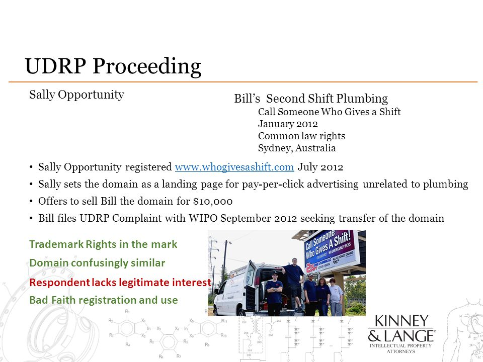 UDRP Proceeding Sally Opportunity Sally Opportunity registered www.whogivesashift.com July 2012www.whogivesashift.com Sally sets the domain as a landing page for pay-per-click advertising unrelated to plumbing Offers to sell Bill the domain for $10,000 Bill files UDRP Complaint with WIPO September 2012 seeking transfer of the domain Bill's Second Shift Plumbing Call Someone Who Gives a Shift January 2012 Common law rights Sydney, Australia Trademark Rights in the mark Domain confusingly similar Respondent lacks legitimate interest Bad Faith registration and use