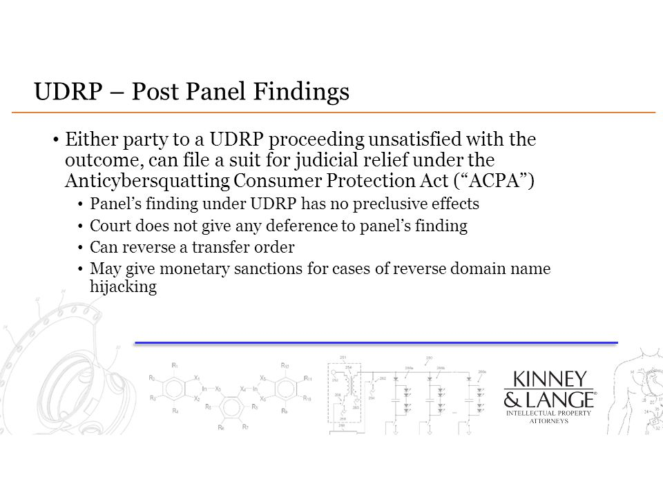 UDRP – Post Panel Findings Either party to a UDRP proceeding unsatisfied with the outcome, can file a suit for judicial relief under the Anticybersqua
