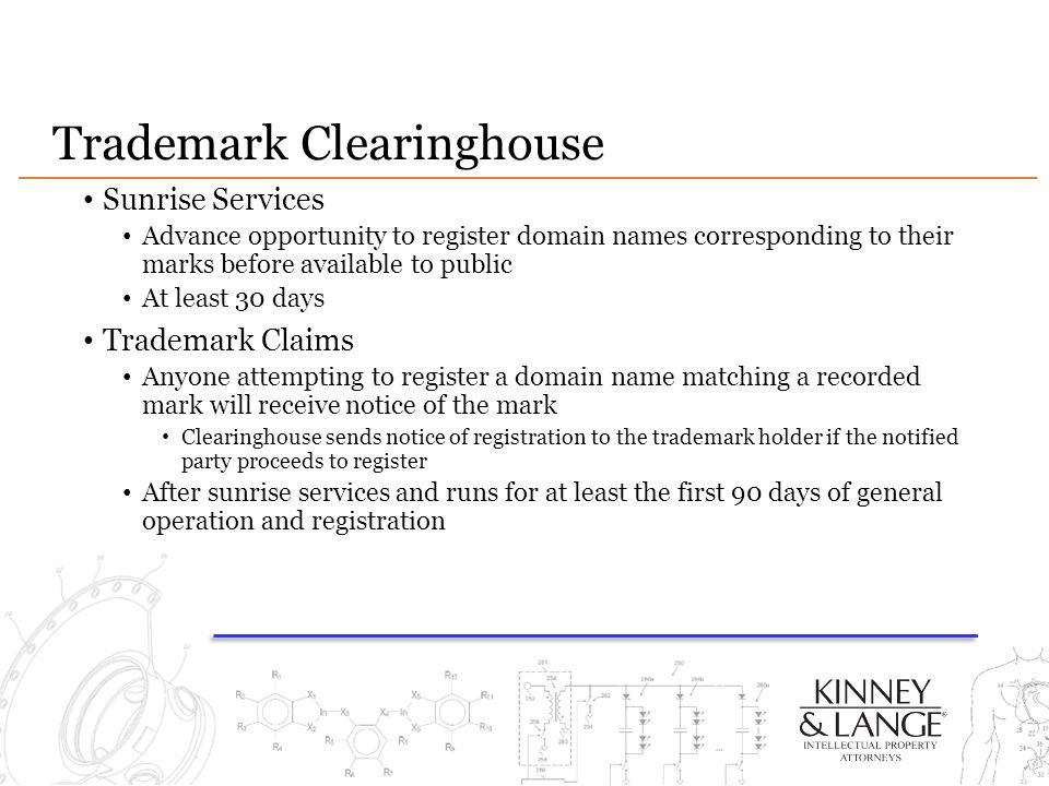 Trademark Clearinghouse Sunrise Services Advance opportunity to register domain names corresponding to their marks before available to public At least