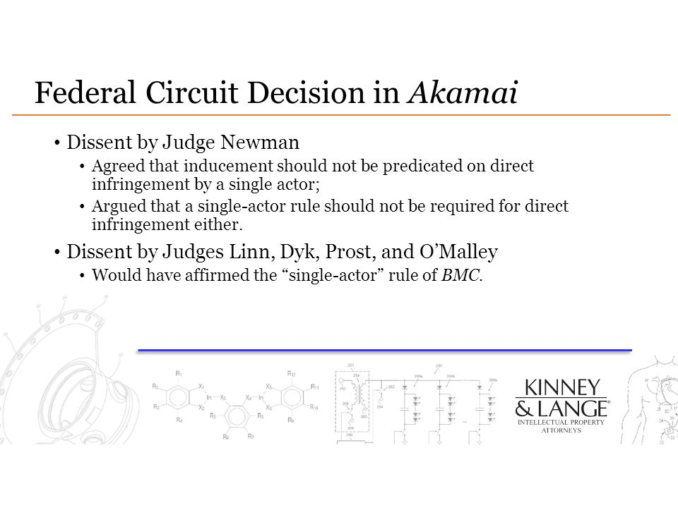 Federal Circuit Decision in Akamai Dissent by Judge Newman Agreed that inducement should not be predicated on direct infringement by a single actor; Argued that a single-actor rule should not be required for direct infringement either.