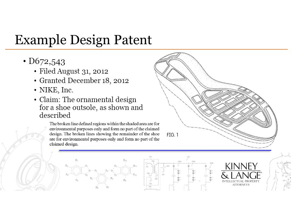 Example Design Patent D672,543 Filed August 31, 2012 Granted December 18, 2012 NIKE, Inc.