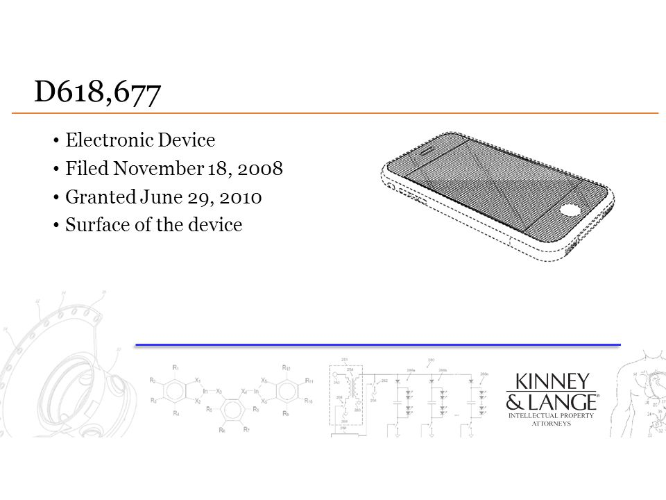 D618,677 Electronic Device Filed November 18, 2008 Granted June 29, 2010 Surface of the device