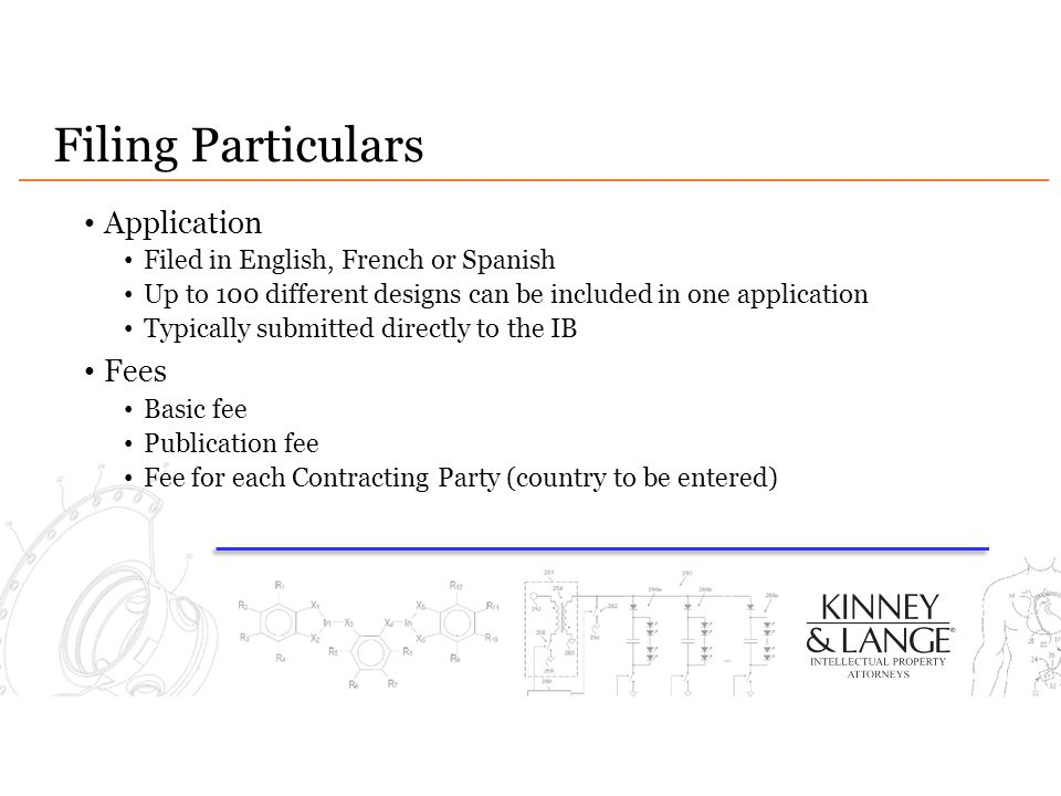 Filing Particulars Application Filed in English, French or Spanish Up to 100 different designs can be included in one application Typically submitted directly to the IB Fees Basic fee Publication fee Fee for each Contracting Party (country to be entered)