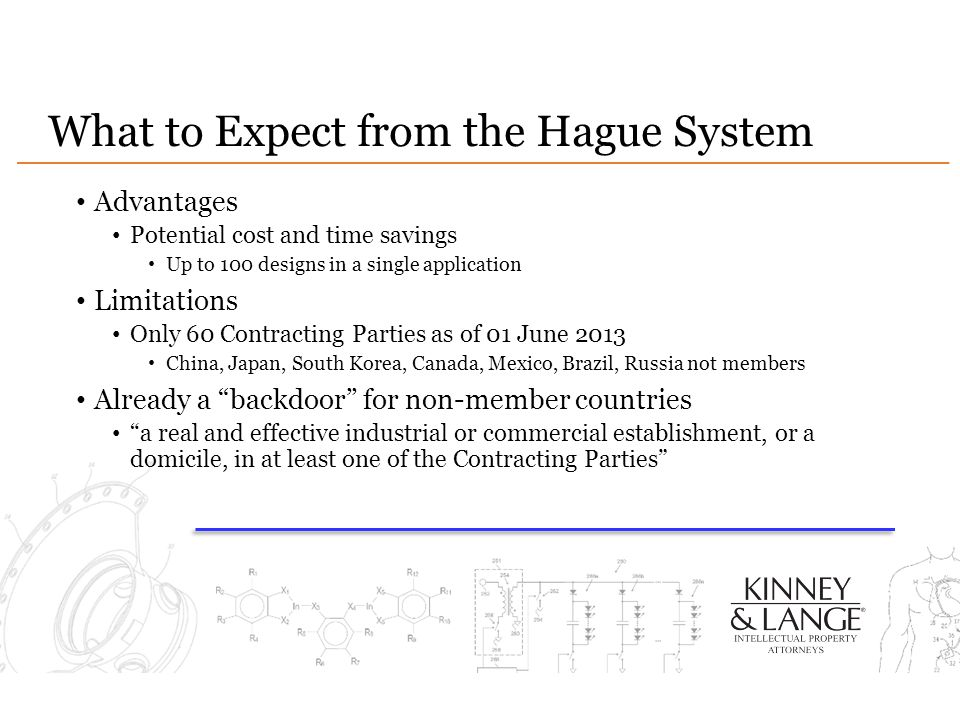 What to Expect from the Hague System Advantages Potential cost and time savings Up to 100 designs in a single application Limitations Only 60 Contract