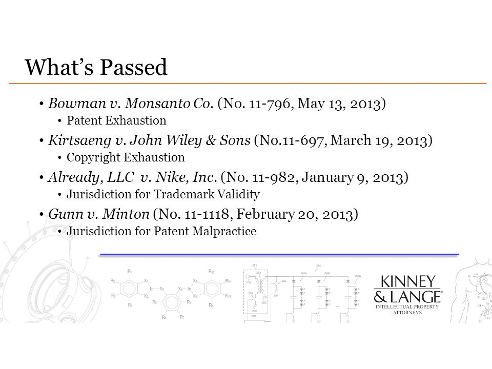 What's Passed Bowman v. Monsanto Co. (No. 11-796, May 13, 2013) Patent Exhaustion Kirtsaeng v. John Wiley & Sons (No.11-697, March 19, 2013) Copyright