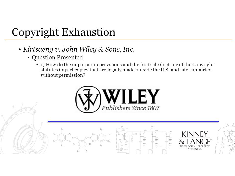 Copyright Exhaustion Kirtsaeng v. John Wiley & Sons, Inc. Question Presented 1) How do the importation provisions and the first sale doctrine of the C