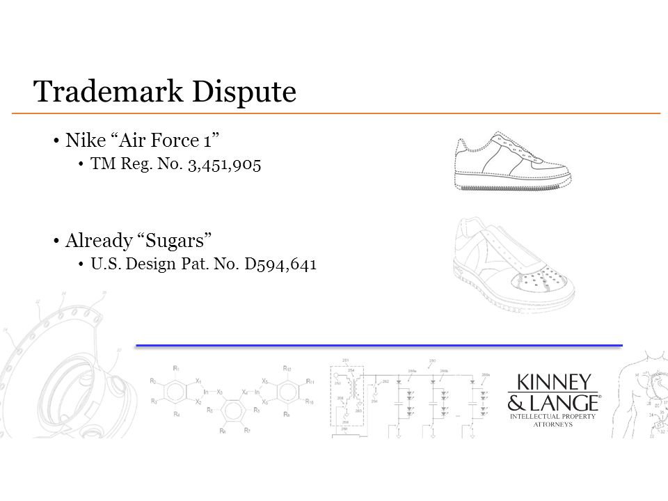 Trademark Dispute Nike Air Force 1 TM Reg.No. 3,451,905 Already Sugars U.S.