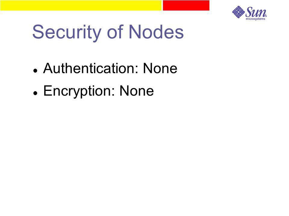 Security of Nodes Authentication: None Encryption: None