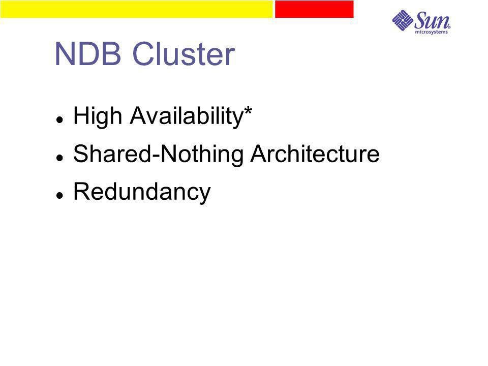 NDB Cluster High Availability* Shared-Nothing Architecture Redundancy