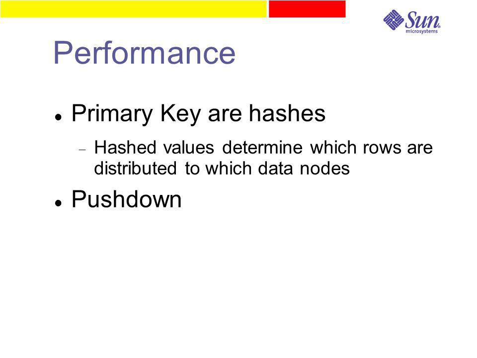 Performance Primary Key are hashes  Hashed values determine which rows are distributed to which data nodes Pushdown