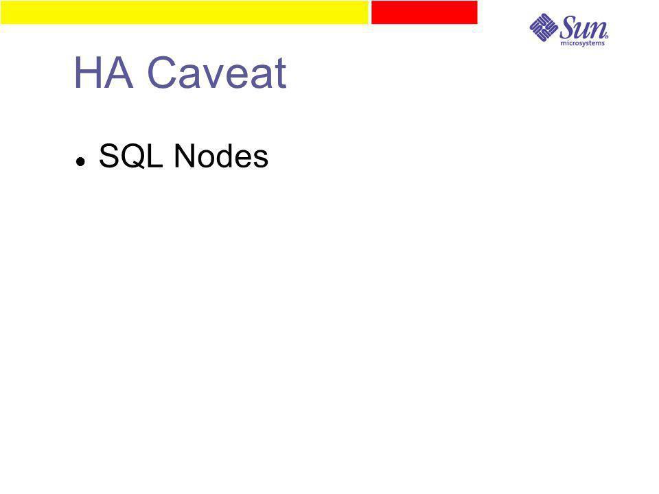 HA Caveat SQL Nodes
