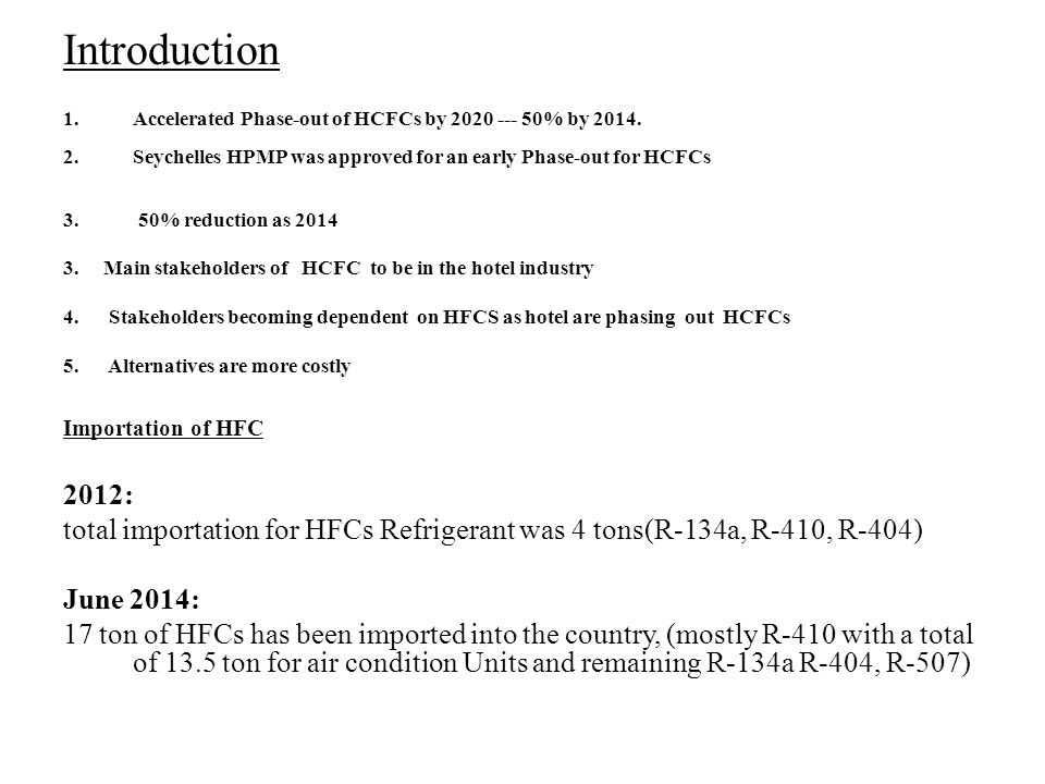 Introduction 1.Accelerated Phase-out of HCFCs by 2020 --- 50% by 2014.