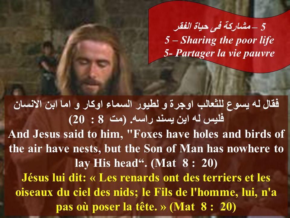 فقال له يسوع للثعالب اوجرة و لطيور السماء اوكار و اما ابن الانسان فليس له اين يسند راسه.