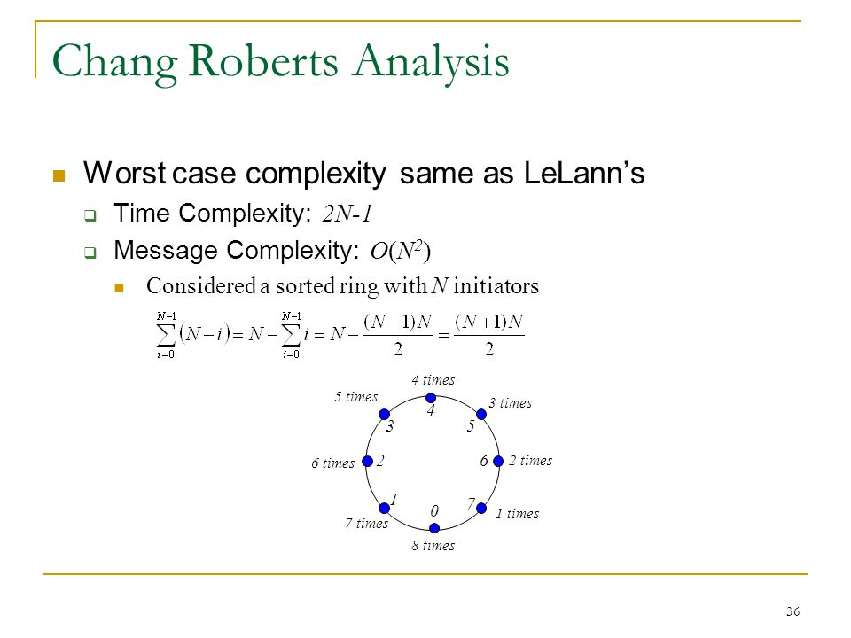 36 0 1 7 53 26 4 Chang Roberts Analysis Worst case complexity same as LeLann's  Time Complexity: 2N-1  Message Complexity: O(N 2 ) Considered a sort