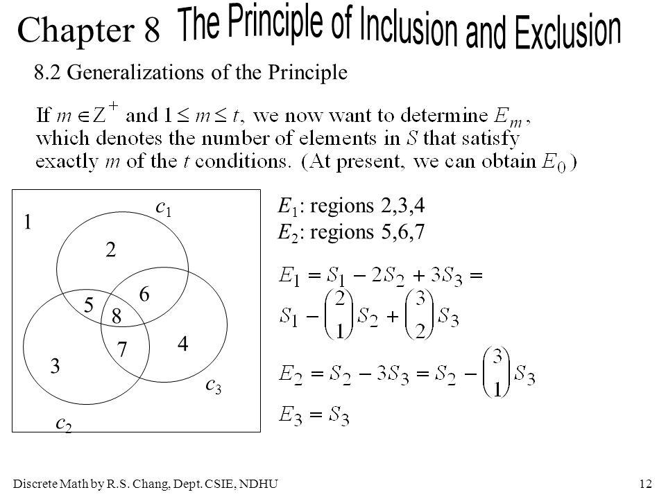 Discrete Math by R.S. Chang, Dept. CSIE, NDHU12 Chapter 8 8.2 Generalizations of the Principle c1c1 c2c2 c3c3 2 5 8 6 3 7 4 1 E 1 : regions 2,3,4 E 2