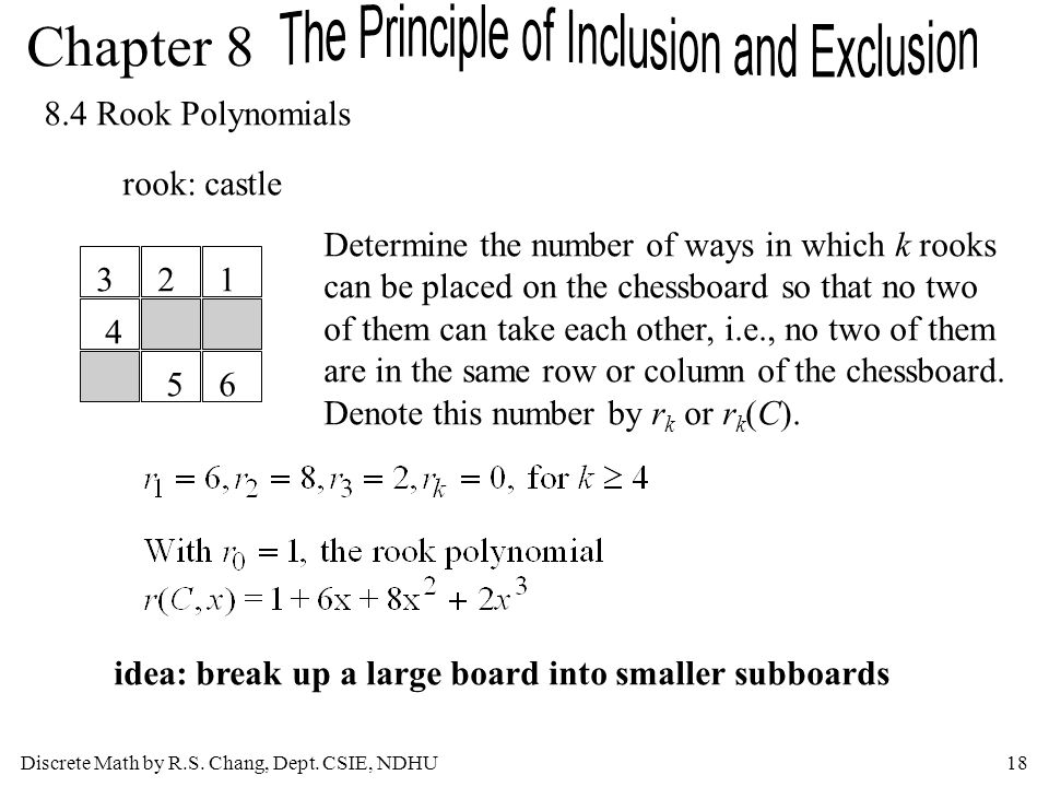 Discrete Math by R.S. Chang, Dept. CSIE, NDHU18 Chapter 8 8.4 Rook Polynomials rook: castle 123 4 56 Determine the number of ways in which k rooks can