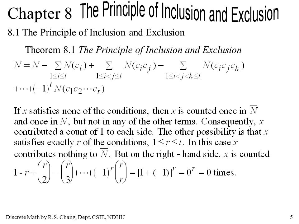 Discrete Math by R.S. Chang, Dept. CSIE, NDHU5 Chapter 8 8.1 The Principle of Inclusion and Exclusion Theorem 8.1 The Principle of Inclusion and Exclu