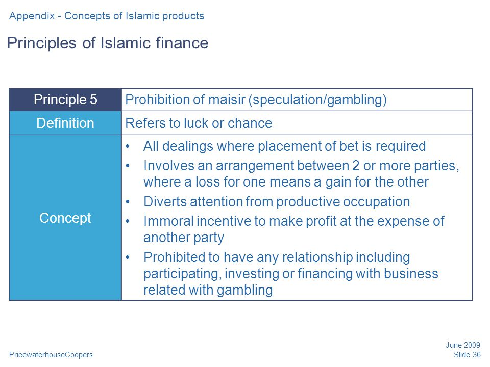 PricewaterhouseCoopers June 2009 Slide 36 Principles of Islamic finance Principle 5Prohibition of maisir (speculation/gambling) DefinitionRefers to lu
