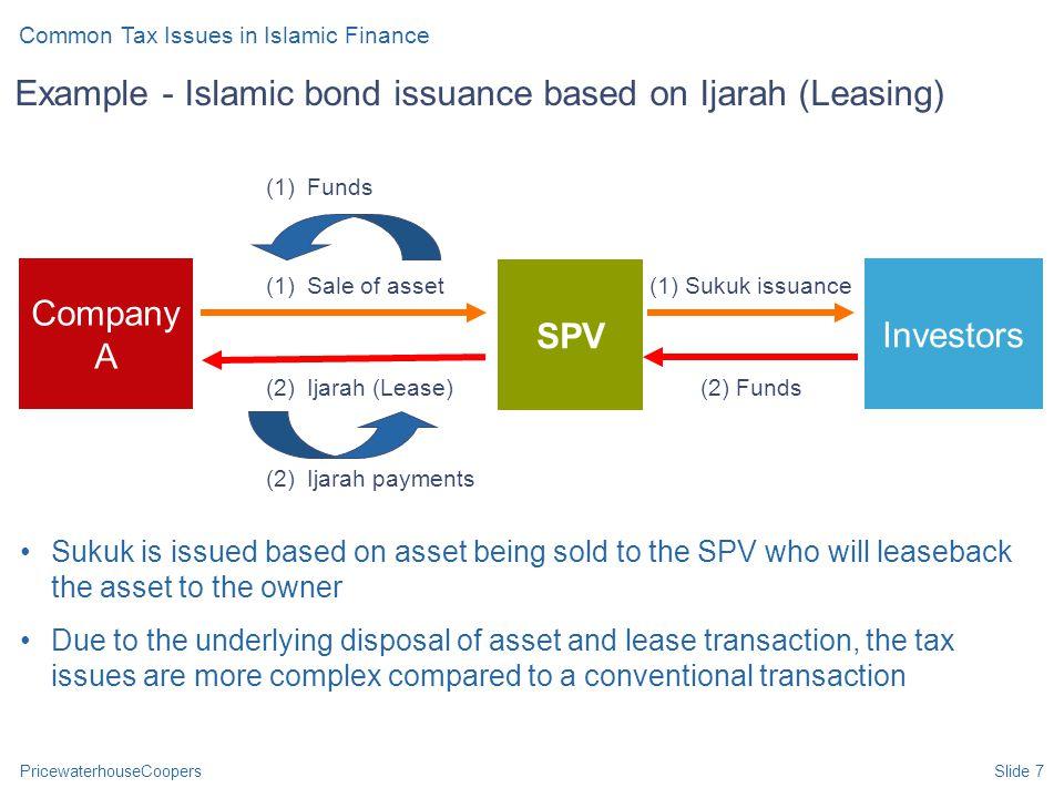 PricewaterhouseCoopersSlide 7 SPV Company A (2) Ijarah (Lease) (1) Sale of asset (1)Funds (1) Sukuk issuance Investors (2) Funds (2) Ijarah payments E