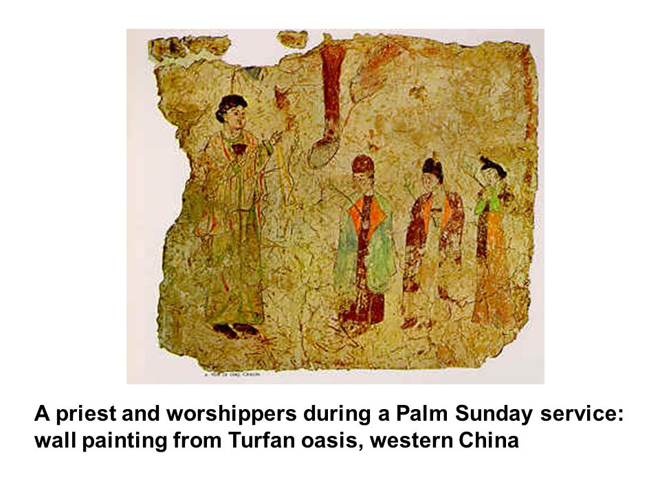 A priest and worshippers during a Palm Sunday service: wall painting from Turfan oasis, western China